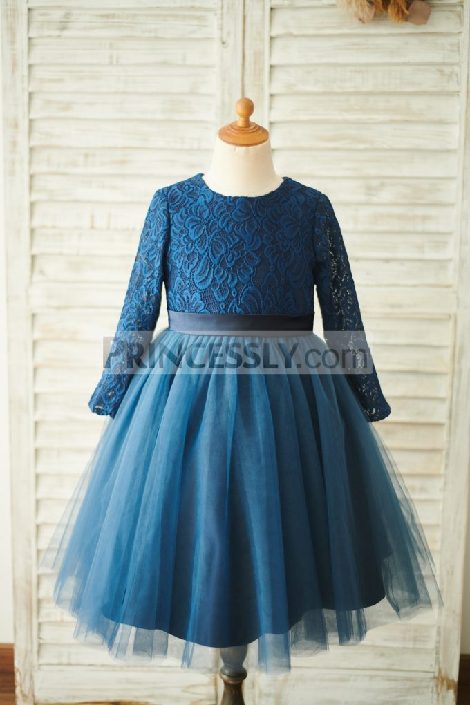 ... Navy Blue Lace Tulle Wedding Flower Girl Dress. Previous; Next