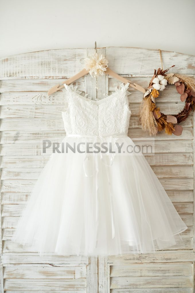 280b13d677f Beaded Sash Lace Appliques Tulle Ivory Flowergirl Dress for Wedding ...