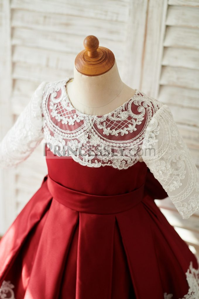 ce0f89444d ... Dresses Ivory Lace Box Pleated Burgundy Satin Flowergirl Gown for  Wedding. 🔍. Previous  Next